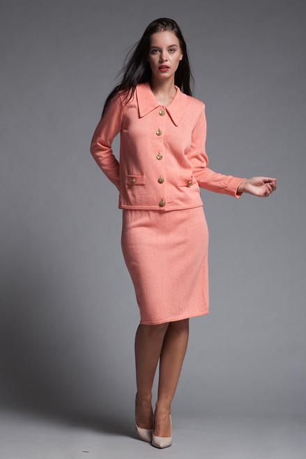 pencil skirt suit set orange santana knit petites vintage 80s SMALL XS S