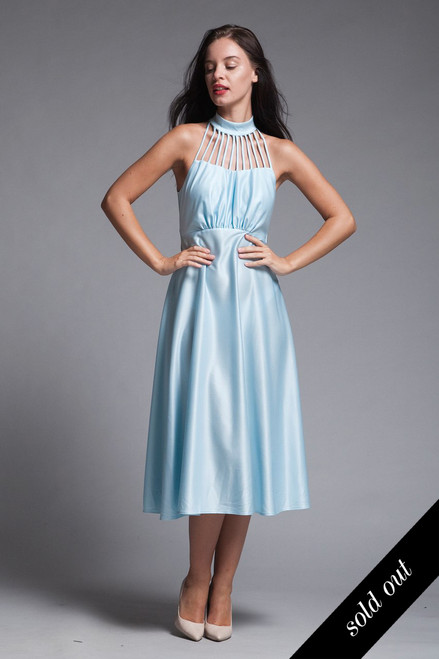 cage halter midi dress matching jacket set ruffles slinky knit light blue vintage 70s SMALL S