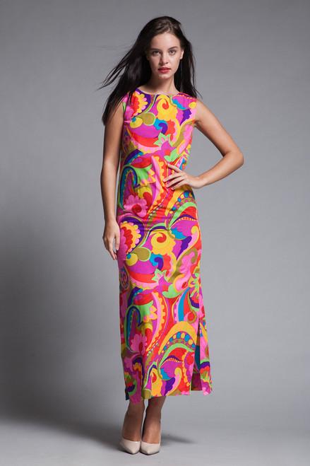 Hawaiian maxi dress pink paisley print sleeveless vintage 70s SMALL XS S