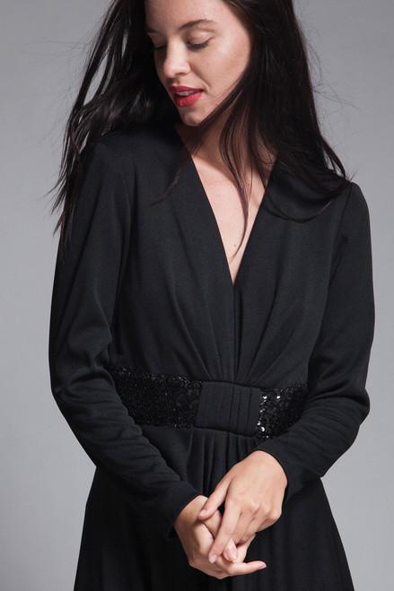 fbf3d647955 ... maxi dress black knit sequined long sleeves v neck gathered front  vintage 70s MEDIUM LARGE M L ...