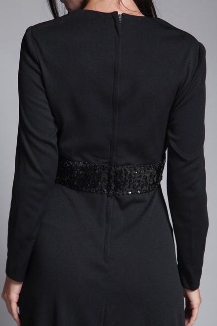 ca8f98cf408 ... maxi dress black knit sequined long sleeves v neck gathered front  vintage 70s MEDIUM LARGE M L