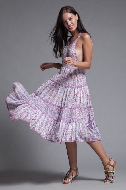 Indian gauze cotton apron dress block print pink Adini open back lace back hippie boho rare vintage 70s SMALL MEDIUM S M