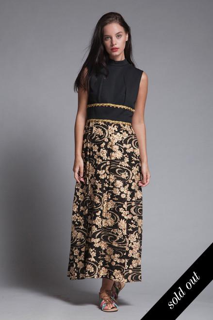 51473a6c760 sleeveless maxi dress black flocked gold metallic sparkly floral gold coin  rikrak vintage 70s MEDIUM M