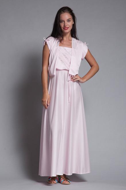 maxi dress bolero set baby pink slinky knit lace cutout belted vintage 70s EXTRA SMALL XS