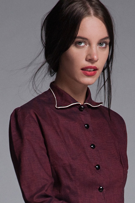 shirtwaist dress midi burgundy red pleated skirt 3/4 sleeves vintage 40s 50s SMALL S