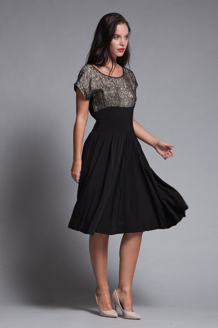 cocktail dress black crepe lace rhinestone cummerbund vintage 50s MEDIUM M
