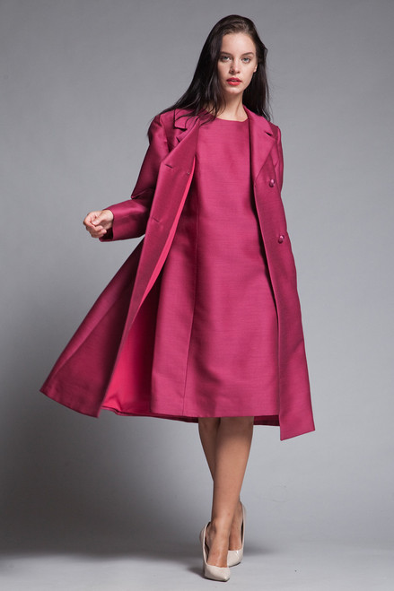 matching coat shift dress set ruby pink double breasted vintage 60s LARGE L