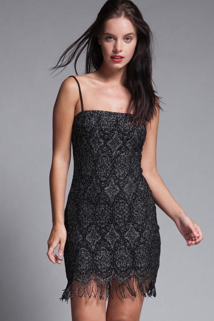 fringed mini dress black lace metallic lurex vintage 90s flapper SMALL S