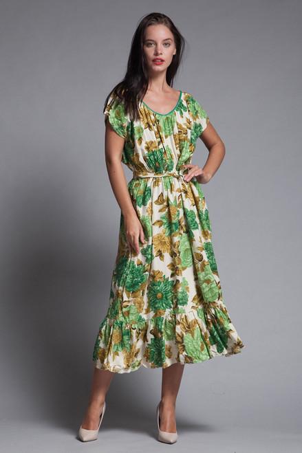 996bb0aaecb belted midi dress ruffled hem green floral print scoop neck vintage 70s  EXTRA LARGE XL