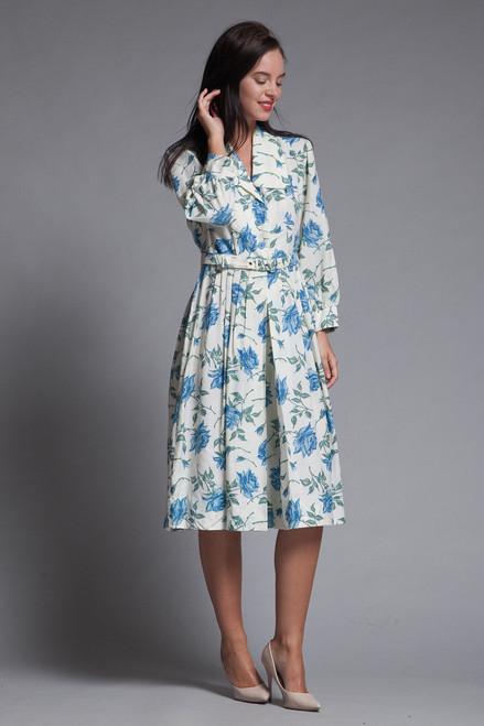 shirtwaist dress belted pleated blue rose floral print vintage 70s MEDIUM M