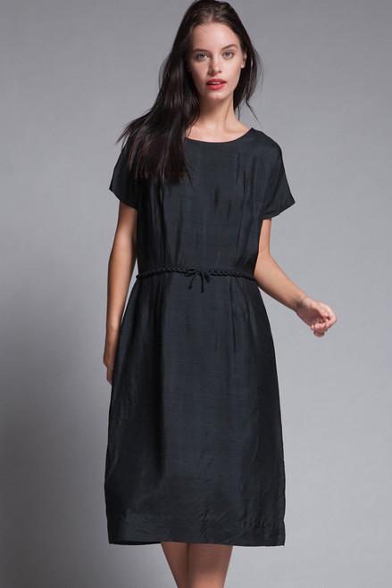 dupioni black silk dress short sleeves loop trim bow front vintage 50s LARGE L