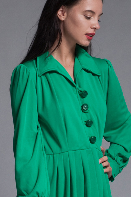 pleated shirtwaist dress green knit long sleeves big buttons vintage 70s LARGE L