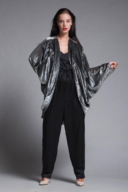 0c49e9ad45f plus size vintage 70s jumpsuit cocoon duster jacket coat set black silver  metallic disco 1X 2X .