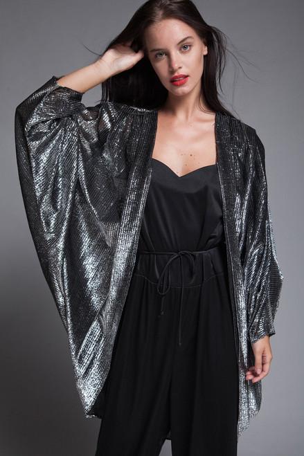 333e524e3cf ... plus size vintage 70s jumpsuit cocoon duster jacket coat set black  silver metallic disco 1X 2X ...