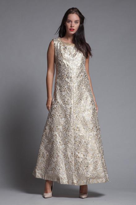 gold maxi dress metallic evening gown formal beaded a-line vintage 70s MEDIUM M