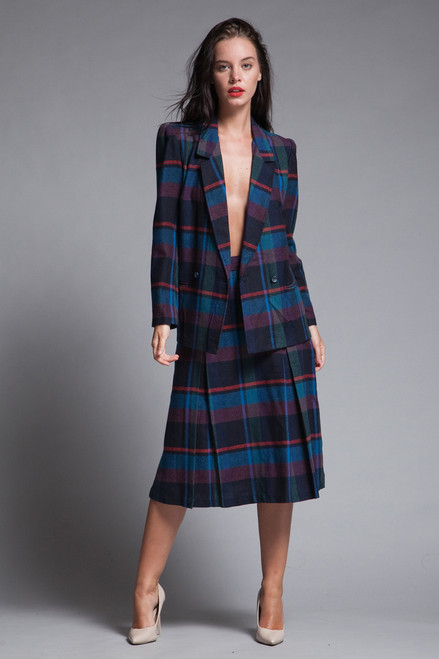 pleated skirt suit plaid wool midi jacket matching set slim fit blue red SMALL S