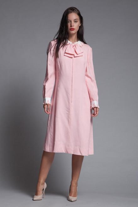 cf58f8e03e pink linen bow dress Peter Pan collar petal applique long sleeves vintage  60s LARGE L
