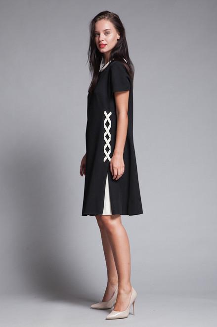 mod a-line dress black white asymmetrical crisscross pleat vintage 60s LARGE L