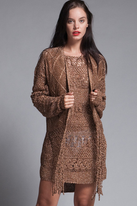 plus size metallic crochet mini dress / tunic vest knit set 2-piece fringed see through copper long sleeves vintage 70s disco 1X