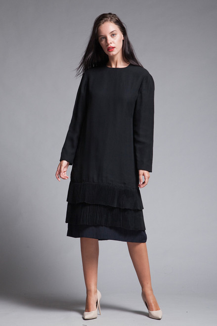 black pleated dress long sleeves sheer flowy vintage 80s MEDIUM M