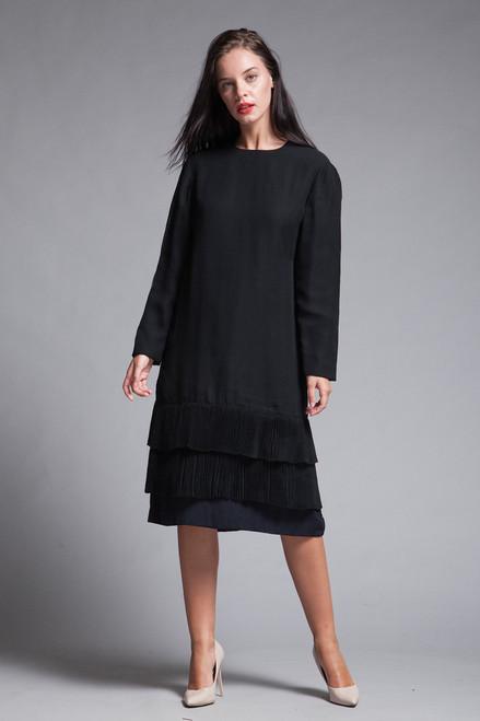 black pleated dress long sleeves sheer flowy vintage 80s MEDIUM M
