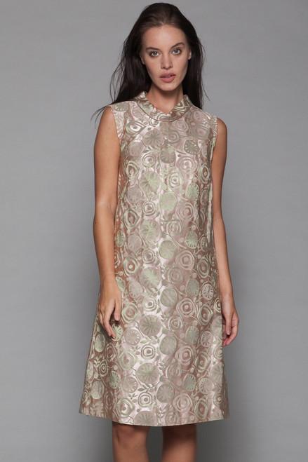 e781273ccf5b8 evening shift dress jacquard matallic pale pink sage green sleeveless vintage  60s MEDIUM M