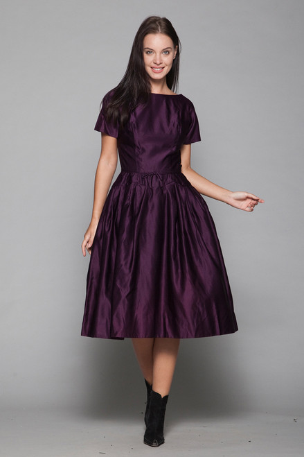 50s cocktail dress eggplant purple satin new look fit and flare pleated vintage XS extra small