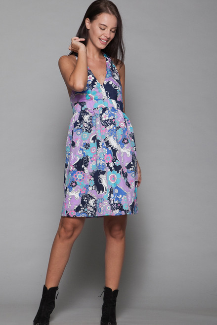 halter mini dress psychedelic floral print bow open back vintage 60s MEDIUM M
