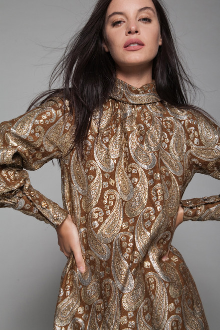 665af8129 evening gown maxi dress bubble sleeves brown gold metallic paisley brocade  vintage 70s LARGE L