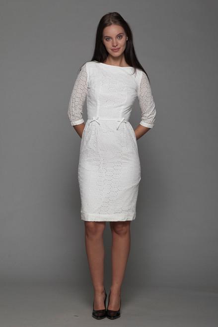 white cotton eyelet wiggle dress Bobby Brooks half sleeves vintage 50s EXTRA SMALL XS
