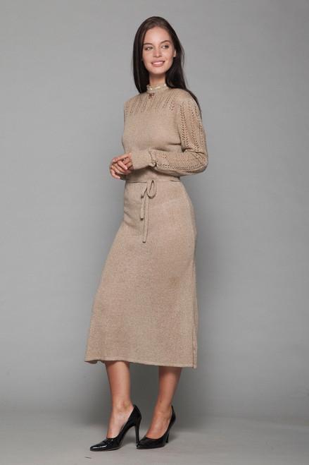eyelet sweater dress brown knit high neck midi belted long sleeves vintage 70s MEDIUM M