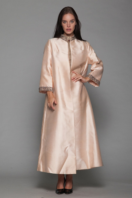 shantung silk evening long duster coat peach beige beaded vintage 60s L XL LARGE EXTRA LARGE