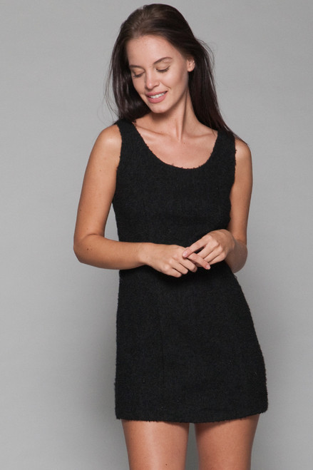 Betsey Johnson micro mini tank dress bucle black wool vintage Y2K S SMALL