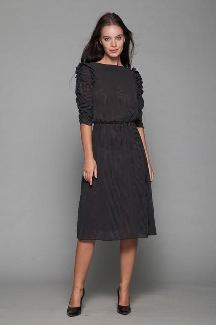 pinstripe sheer dress ruffled ruched sleeves black white vintage 70s SMALL MEDIUM S M
