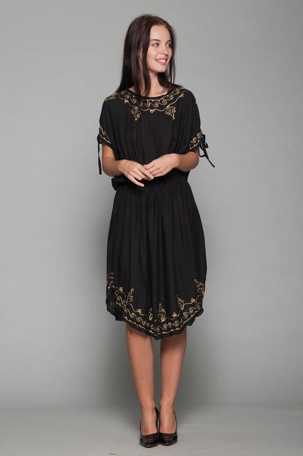 black boho dress gold embroidery slinky ONE SIZE S M L vintage 70s