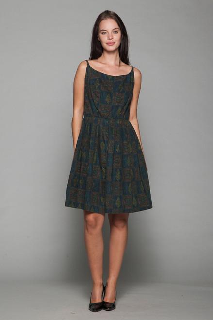 vintage 50s novelty print cotton day dress pleated navy blue vintage 1950s LARGE L