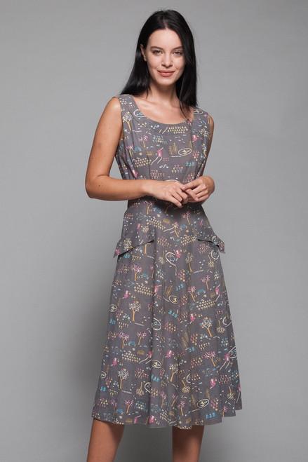 1940s novelty print cotton dress sleeveless midi gray vintage 40s MEDIUM M