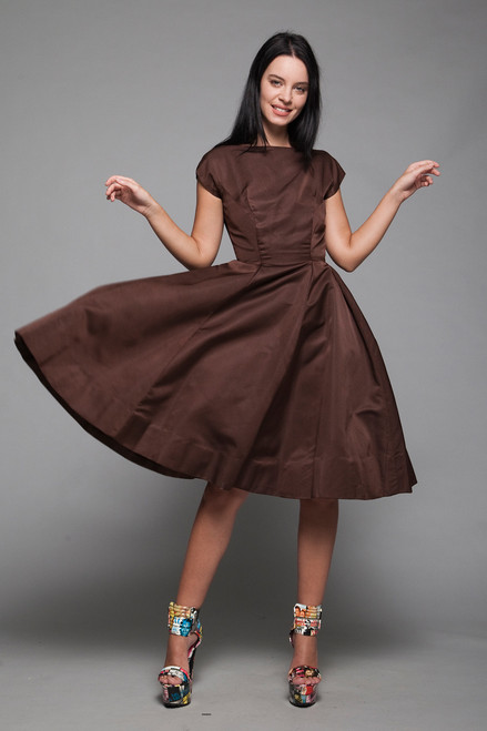 1950s fit and flare pleated dress chocolate brown cocktail v back vintage 50s XS EXTRA SMALL