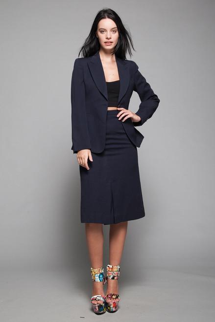 gabardine wool skirt suit navy blue slim front pleat vintage 60s SMALL S