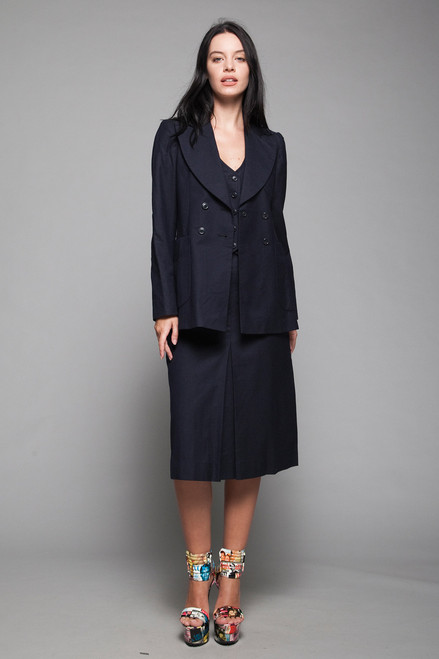 3-piece vest double breasted jacket skirt suit navy blue wool vintage 60s SMALL S