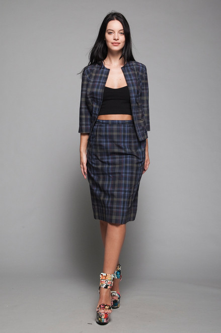 skirt suit 2-piece set tartan plaid open jacket navy blue vintage 60s SMALL S