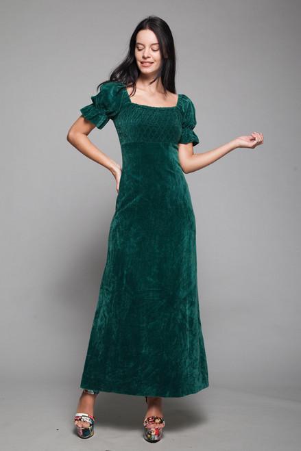 prairie cottagecore cottage maxi dress green velvet doll sleeves empire waist vintage 70s EXTRA SMALL XS