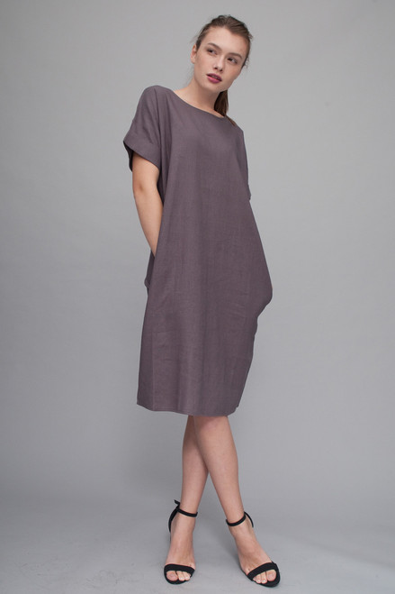 linen pocket dress gray with short wide cuff sleeves (choose size)