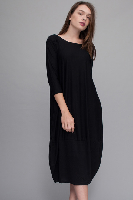 black knit tulip dress pocket midi  with contrast bubble hem  (choose size)