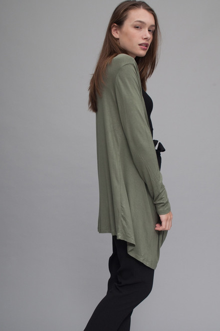 long cardigan draped duster open front light olive green (choose size)