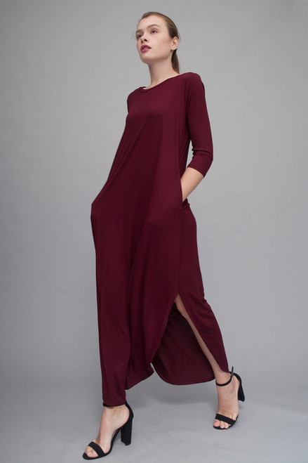 maxi knit dress with rounded hem side slits burgundy red  (choose size)