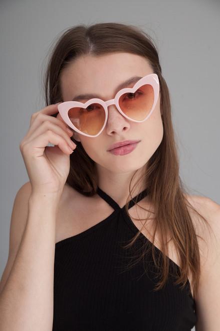 Heart shaped cat eye oversize sunglasses PINK