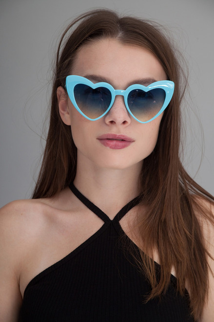 Heart shaped cat eye oversize sunglasses BLUE