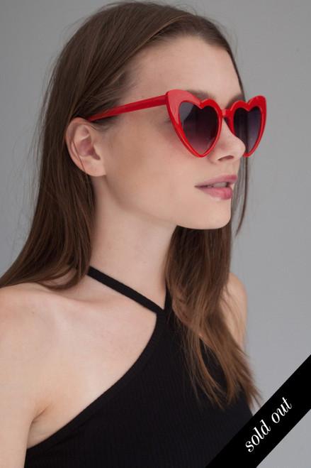 Heart shaped cat eye oversize sunglasses RED