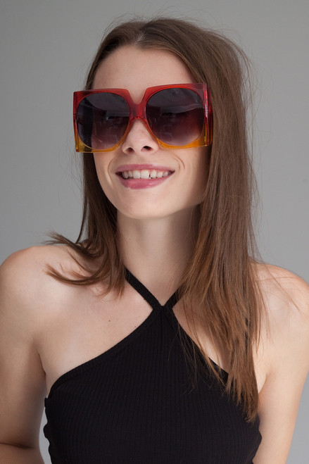 oversize square off ombre translucent frame sunglasses RED / YELLOW